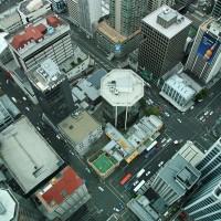 Pogled s stolpa Sky Tower v Aucklandu