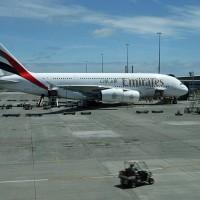 Airbus A380 letalskega prevoznika Emirates na letališču Auckland