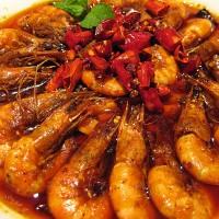 Odlični škampi v čilijevi omaki v restavraciji Mala Youhuo v Pekingu
